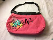 """Thirty One Suite Skirt Purse Black Base With Pink Cover Embroidered With N"""""""