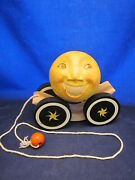 Briere Folk Art Pull Toy 1992 Man In The Moon And Cow Ball And Cart /cradle 232