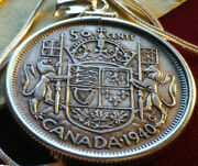 Xf 1940 Canada 800 Silver 50 Cent Pendant On An 18 Sterling Silver Snake Chain