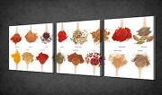 Spices On Spoons Kitchen Design 3 Panels Wall Art Canvas Print Ready To Hang