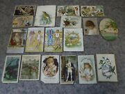Lot Of 15 Antique Trade Cards And 3 Postcards-ronald Reagan, Coffee, Sewing +