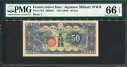 French Indochina 1940, Japan Military 50 Sen,ろ3, M1,pmg 66 Gem Unc Top Graded