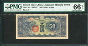 French Indochina 1940 Japan Military 50 Senろ3 M1pmg 66 Gem Unc Top Graded