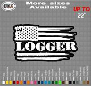 Logger American Flag Vinyl Decal Sticker | Logger Decals / Stickers