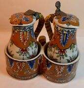 Antique Gouda Pottery Oil And Vinegar Cruets Pitchers In Holder