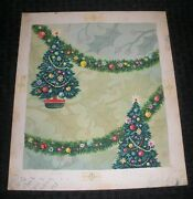 Christmas 2 Decorated Trees W/ Garland 10x12 Greeting Card Art 25q