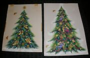 Christmas Decorated Trees W/ Angels 2pcs 5.5x8 Greeting Card Art 5011 6258