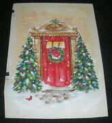 Christmas Decorated Trees At Front Door Wreath 6.25x8.5 Greeting Card Art Fl48