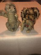 2 Antigue Mohair Puppy Dog Dolls Plush 80-100 Years Old Wore Frame Best Friends