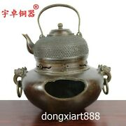 31 Cm Chinese Bronze Watering Can Teapot Pot Jar Jug Water Bottle Kettle Stove