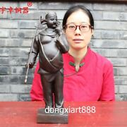 40 Cm China Red Bronze Myths And Legends Figural Pig Eight Quit Zhu Bajie Statue