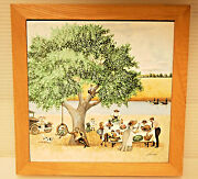 Ceramic Tile Painting By American Artist Lowell Herrero ''holiday Picnic''
