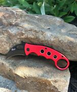 Red Karambit Assisted Opening Pocket Knife Edc Folding Spring Fox Emerson Claw