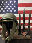 Display Stand Combo For Helmet And Bayonet - Wwi, Wwii Helmets And Bayonets