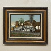 Signed Framed H Hargrove Serigraph Oil On Canvas Toms River Train Station 12x16