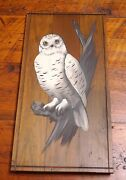Vintage Primitive Large White Owl Rustic Solid Wood Outsider Art Wall Hanging