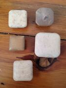Lot 5 Vintage Antique Pale Square Solid Mid Century Wood Knobs Drawer Pull 5-3cm