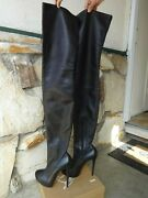Christian Louboutin Thigh High Over The Knee Platform Boots Black Leather Eu38.5