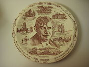 Vintage Vernon Kilns Will Rogers 1879-1935 Collectible Plate, 10 1/3 Diameter