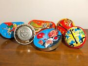 Lot Of 6 Antique And Vintage Tin Litho Toy Noise Makers 1920's- 1950's