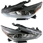 Headlight Set For 2016-2017 Nissan Altima Left And Right Led Smoked Housing 2pc