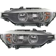 Halogen Headlight Set For 2012-2015 Bmw 328i Left And Right W/ Bulbs Pair