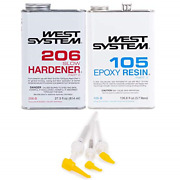 West System 105-b Epoxy Resin With 206-b Slow Epoxy Hardener And Mini Pump Set