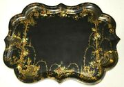 Antique Galleried Paper Maiche Tray With Gilt And Floral Decorations