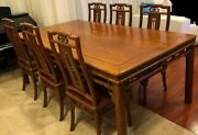 Vintage Chinese Wooden Table And Chair Set Rare Read Description