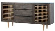 71 W Lelia Sideboard Solid Elm Wood Cabinetry Iron Accents Modern Contemporary