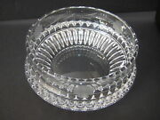 Hand Cut Art Crystal Etched Flower Glass Ashtray, Signed By Artist