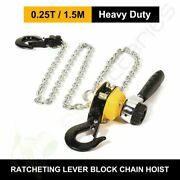 0.25ton 5ft Ratcheting Lever Block Chain Hoist Come Along Puller Pulley New