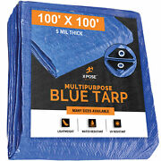 100and039 X 100and039 Multi Purpose Blue Poly Tarp Cover Tent Shelter Rv Camping Tarpaulin