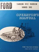 Ford Tractor Series 202 Tandem Disc Harrow 3-point Hitch Implement Owners Manual