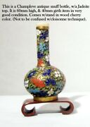 Handmade Chinese Champleve Antique Snuff Bottle wood Cherry Stand. Jadeite Top