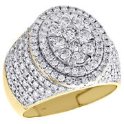 10k Yellow Gold Round Diamond Step Oval Tiered Pinky Ring 18mm Pave Band 2.50 Ct