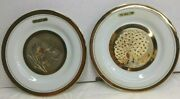 2 Plates The Art Of Chokin 24k Gold Edged. Etched Copper 6 1/2'' Birds