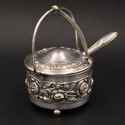 Jam Sugar Bowl Metal Silver Pattern Relief Roses And Spoon Silver Plated