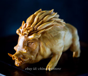 956cm Chinese Box-wood Hand-carved Zodiac Pig Boar Wild Boar Pet Animal Statue