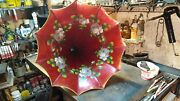 Antique Edison Cylinder Phonograph Red Floral Horn-the Best I Have Seen-t Andt Co.