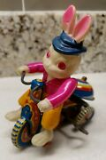 Antique Susuki Celluloid Tin Litho Wind Up Bunny Tricycle Bike Japan Excellent