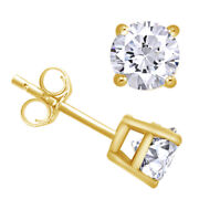 1-1/2 Cttw Round Cut Diamond Stud Earrings In 14k Yellow Gold Christmas Special