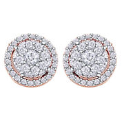1/2ct Diamond Round Cluster Halo Stud Earrings 14k Rose Gold Christmas Special