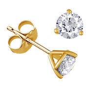 Diamond Three-prong Stud Earrings 3/4 Ctw In 14k Yellow Gold Christmas Special