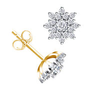 1 Ctw Diamond Star Cluster Stud Earrings In 14k Yellow Gold Christmas Special