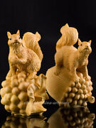 Chinese Box-wood Hand-carved Lovable Animal Squirrel Pine Cone/acorn Statue Pair