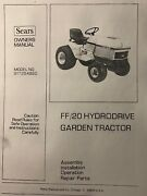 Sears Craftsman Ff/20 Lawn Garden Tractor Owner, Parts And Service 2 Manual S Hp