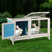 Wooden Small Animal Chicken Coop Rabbit Hutch Bunny House Gage Removable Tray