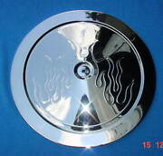 Air Cleaner Lid Only Muscle Car Style 14 In Embossed Flame Triple Chrome Plated