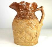 C1845 Antique Doulton And Watts Lambeth Pottery Stoneware Hunting Pitcher Jug